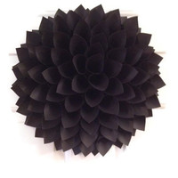 Black Dahlia Wreath, Black Wall Decor, Shabby Chic Wreath, Paper Flower, Wall Flower Art, Wedding Decor, Centerpiece, Chair decor