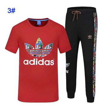 Adidas men's summer t-shirt round neck half-sleeve trousers fitness running clover sportswear suit red+black bottom