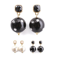 Womens stone dot vintage retro earrings accessories black white [shares in stock]