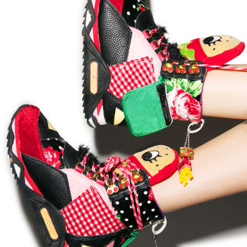 Irregular Choice Burger Off Sneaker Boots Black
