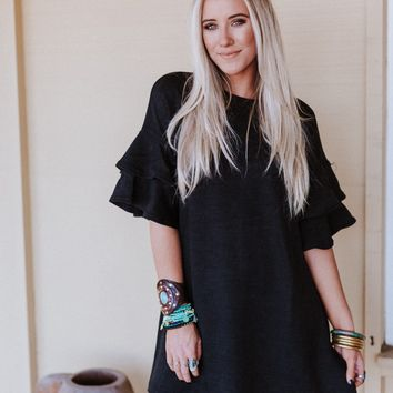 Can't Compare Ruffle Sleeve Shift Dress - Black