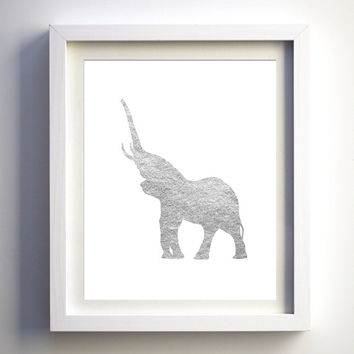 Elephant download silver foil elephant art print printable nursery art decor silver modern silver wall art print DIY animal art print