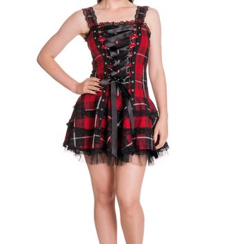Gothic Punk Rock Emo Harley Tartan Dark Red Corset Lace-up Mini Dress