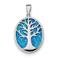 Sterling Silver Created Blue Opal Tree Of Life Oval Pendant