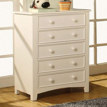 Sophisticated 5 Drawers Wooden Chest, White