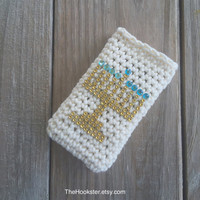 Chanukkah phone case with gold menorah, All sizes, Hanukkah phone cover, Crocheted Chanukah phone cover, Jewish holiday phone case gift idea