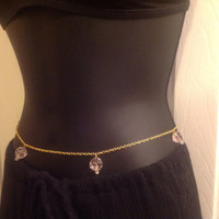 Sexy Gold or silver tone belly chain with faceted pink crystals -Gypsy, Boho, Body Chains, Belly dancing Jewelry - Beach bikini crop top