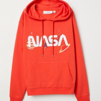 Printed Hooded Sweatshirt - Red/NASA - Ladies | H&M US
