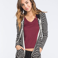 Full Tilt Essential Womens Cozy Stripe Zip Front Hoodie Black  In Sizes