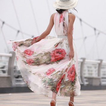 Summer Big Flower Printed Maix Long Party Dresses Women's Vintage Bohemian Style Ankle-Length Chiffon Long Dress G0561 One Size (Color: Red) = 1928549444