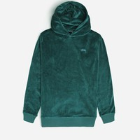 Stussy Velour Hood 1140044 0401 | Green Sweatshirts| Clothing - Naked