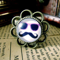 Cute Mr. Mustache Design Ring , Antique Brass Ring , Steampunk Ring , Adjustable Ring , with a Gift Box
