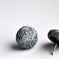 Navy Blue and White, Button Earrings, Dainty Jewelry, Women's Jewelry, Hypo Allergenic