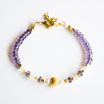 Lilac Heart Gold Plated Crystal Bracelet, Seed Bead Bracelet,Handmade Bracelet,Crystal jewelry,Gold Plated Bracelet