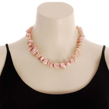 Vintage Signed Jewelry Les Bernard Necklace Natural Pink Shell Chunky Choker