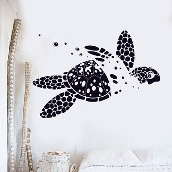 Vinyl Wall Decal Sea Turtle Animal Ocean Marine Kids Room Decor Stickers (121ig)