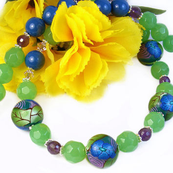 Spring Statement Necklace, Blue Green Floral Polymer Clay, Amethyst, Swarovski Lapis Pearls, Unique Jewelry, One of a Kind, Colorful