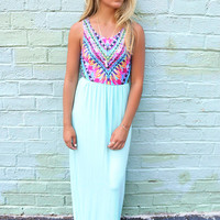 Honolulu Multi Color Feather Print Mint Maxi Dress