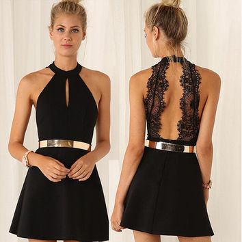 Women Summer Sexy Halter Lace Backless Dress For Party Wedding Black Mini Dress
