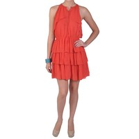 Juniors Layered Sleeveless Elastic Waist Band Dress | Coral Juniors Elastic Band Dress