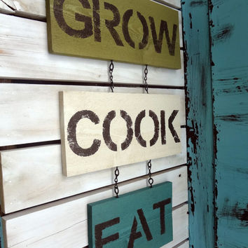 Wall Decor Sign green, teal, and antique white, kitchen decor, shabby chic, rustic, cottage, and country chic style