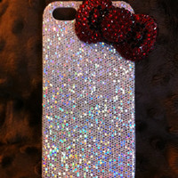 Sparkle iPhone 5 case with bling hello kitty bow