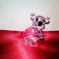 Swarovski Crystal Koala Bear Figurine Vintage Signed Retired 7073 Adi Stocker Design Endangered Species Austrian AB Crystal Pet Collectbile