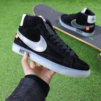 CHENElR OFF-White x Nike Blazer Mid black transparent hook Women Men Skateboarding Causel Sports Sneaker Shoes