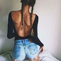 Autumn 2016 Sexy Rompers Womens Jumpsuit Casual Long Sleeve O Neck Backless Solid Playsuits Female Bodysuits Skinny Overalls
