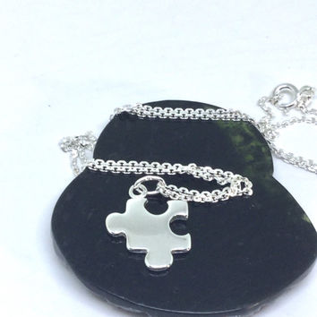 Puzzle Piece Necklace Sterling silver puzzle charm small puzzle pendant 3D pufffed charm symbol autism awareness pendant 925 silver