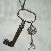 French Antique Skeleton Key Necklace - Convent Key - Eiffel Tower - OOAK Key Necklace