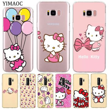 YIMAOC lovely cute Hello Kitty lovely pink Soft Silicone Phone Shll Case for Samsung Galaxy S8 S9 Plus S7 Edge Note 9 8 Cover