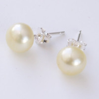yellow pearl studs lemon yellow freshwater pearl sterling silver 8mm stud earrings