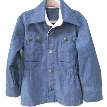 Kids Vintage Jacket, 5 Lined Denim Jacket Snap Front Vintage Kids Jacket Fall Coat Vintage 60s Kids Coat Unisex Vintage Boys Jacket Donmoor