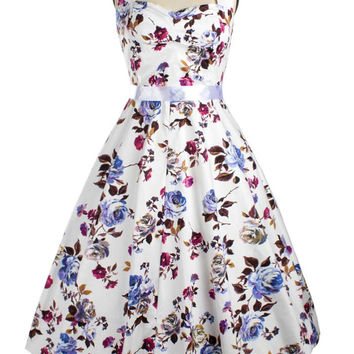 Vintage Halter Fit and Flare Floral Dress