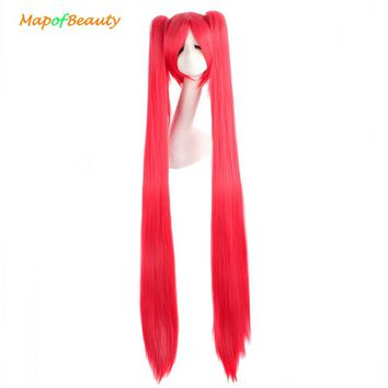 """MapofBeauty 120cm 47"""" Long straight hair 2 ponytail 7colors blue pink black cosplay wig shape Claw Heat Resistant synthetic wigs"""