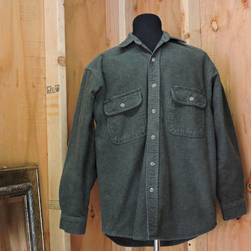 Vintage Field and Stream / heavy cotton shirt / size M / 80s mens green flannel shirt / hunting fishing outdoor wear