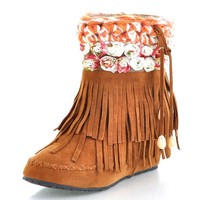 Ladies' Bohemian Tassel Wedge Ankle Boots