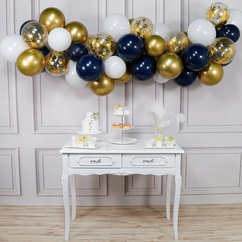 Partywoo Blue and Gold Balloons 50 pcs 12 inch Navy Blue Balloons White Balloons Matte Balloons and Gold Confetti Balloons Gold Chrome Balloons for Royal Baby Shower, The Little Prince, Navy Party