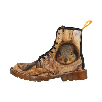 The Squirrel Inside Tree Hole Lace Up Martin Boots for Women