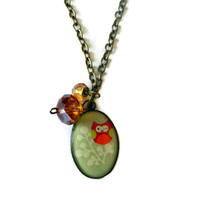 Owl Resin Charm Necklace