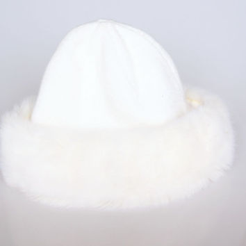 Vintage white fake fur winter cap, Russian style winter bonnet, 1970 retro clothes, retro winter clothes , white faux fur knitted hat