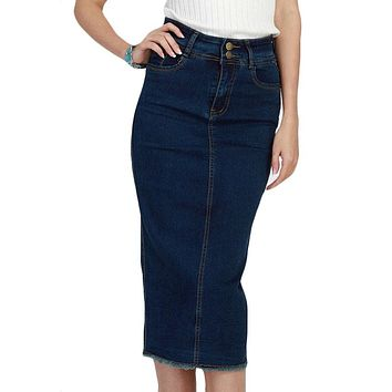 Denim Skirt Vintage Button High Waist Pencil Saia Jeans Slim Skirts Womens Plus Size S-3XL Ladies Office Sexy Jupe Jean Falda