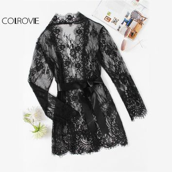 Floral Lace Black Sheer Robe Self Tie Waist Long Sleeve Plain Kimono Robe