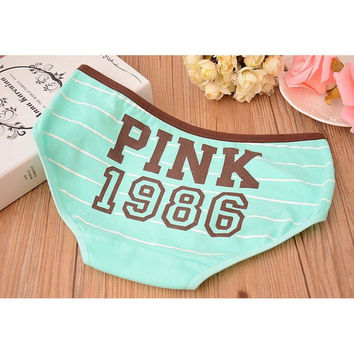 So cute - Army Green VS PINK 1986 Classic 100% Cotton Stripe Panties