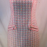 David Meister Dress 6 S SMALL Pink Sleeveless Twill Sheath zipper detail