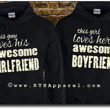 This Guy/Girl Loves His/Her Awesome Girlfriend/Boyfriend  HIS & HERS Matching HOODIES. Hooded Fleece Sweatshirts