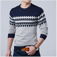 Men's Casual Sweater O-Neck Slim Fit Knitte Mens Sweater