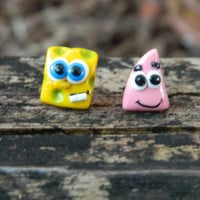 SpongeBob and Patrick polymer clay studs