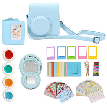 7 in 1 Instant Film Camera Accessories Bundles for Fujifilm Instax Mini 8 ( Case/ Sticker/ Album/ Frames/ Lens/ Filters/ Strap )